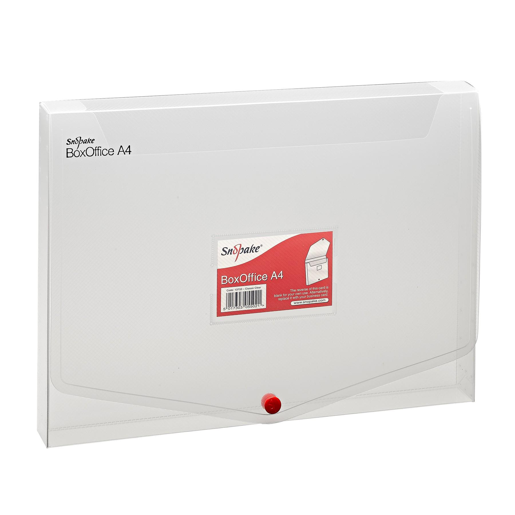 MAPA PLASTIC CU BUTON A4 25MM TRANSPARENTA BOX OFFICE SNOPAKE