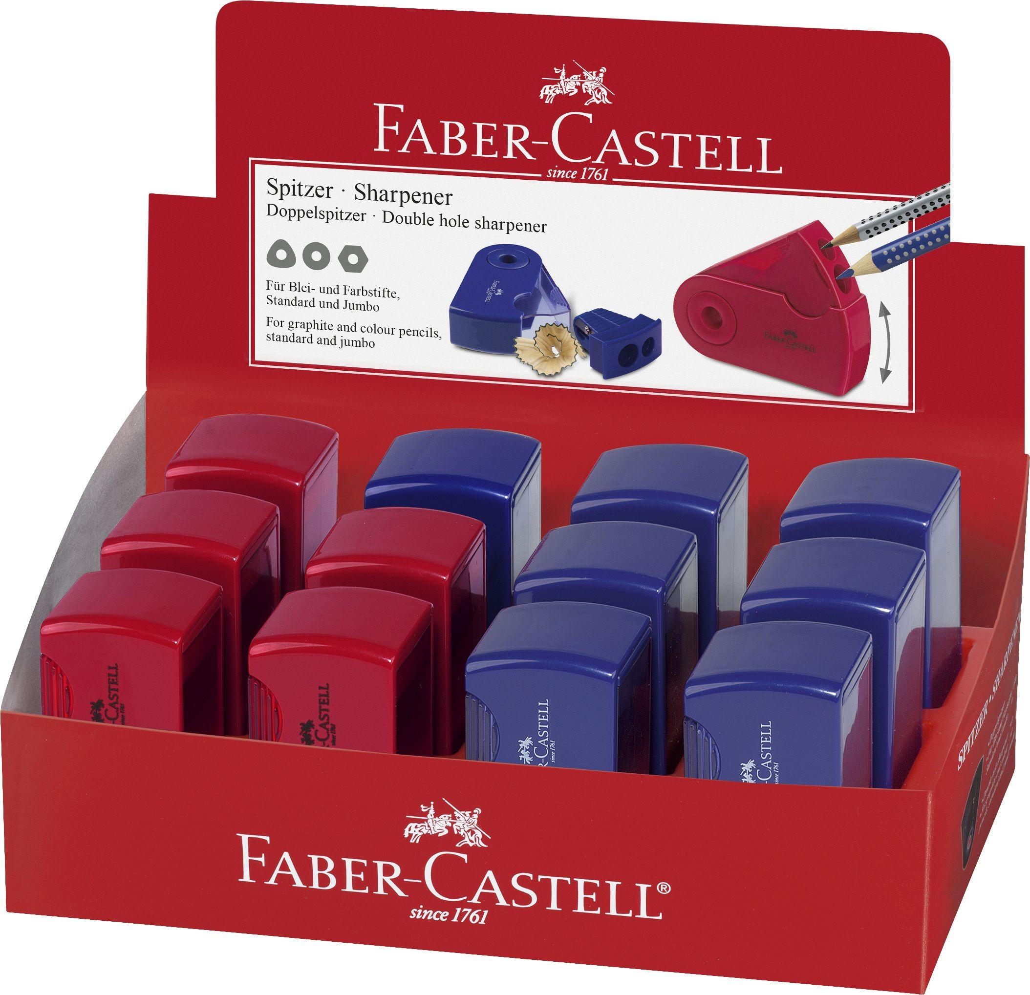 ASCUTITOARE PLASTIC DUBLA SLEEVE ROSIE/ALBASTRA FABER-CASTELL