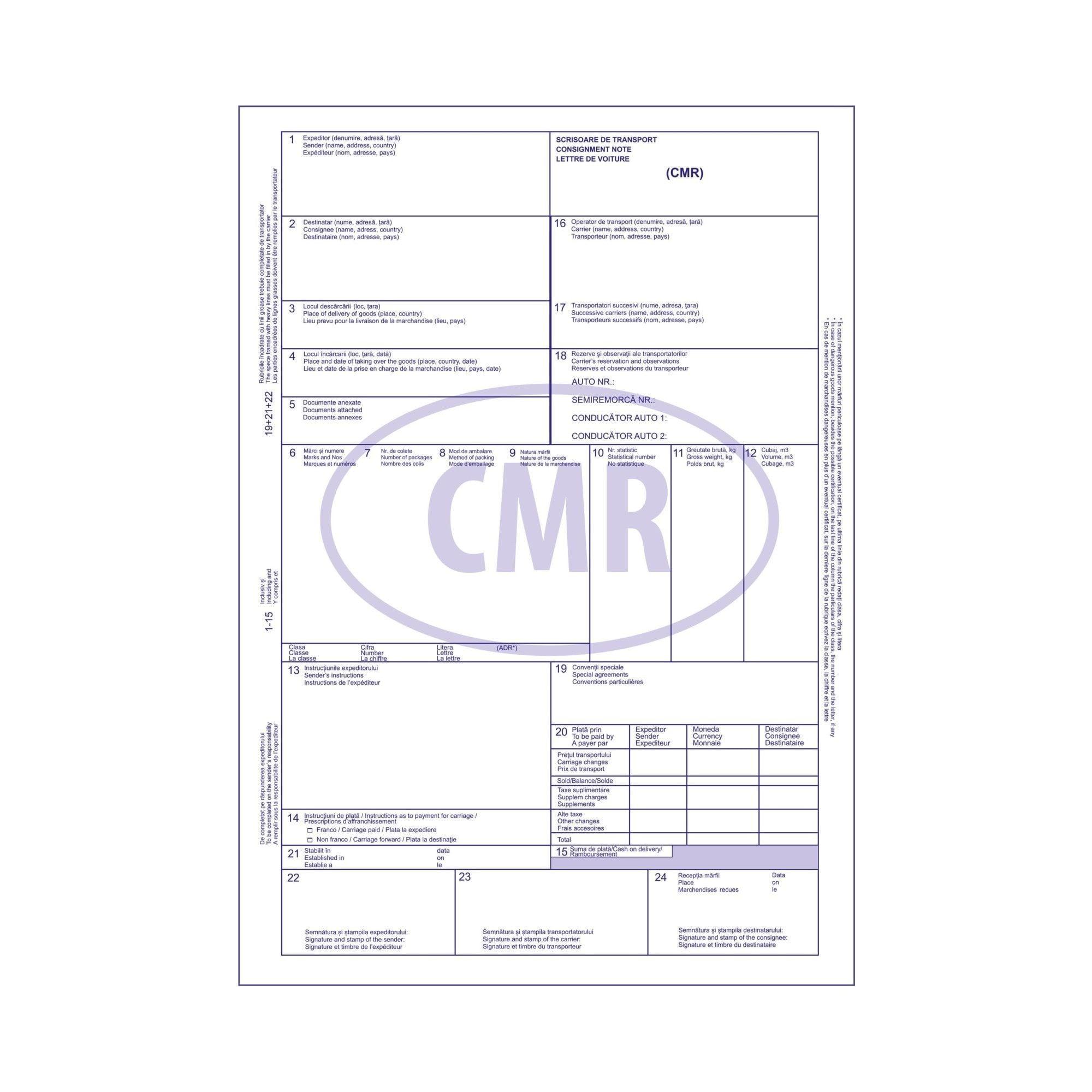 CMR TRANSPORT MARFA IN TRAFIC INTERNATIONAL 5 EX