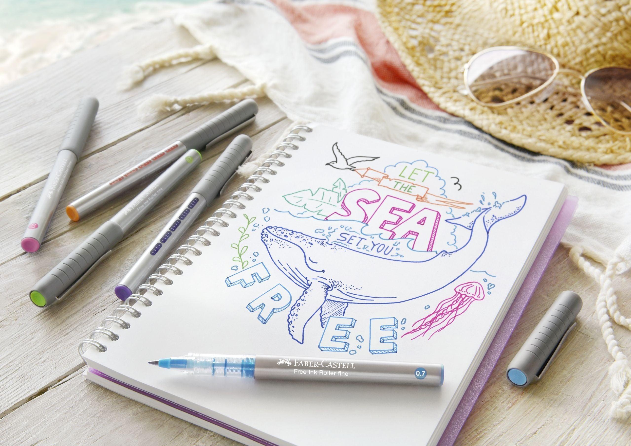 ROLLER FREE INK 0.7MM BLEU FABER-CASTELL