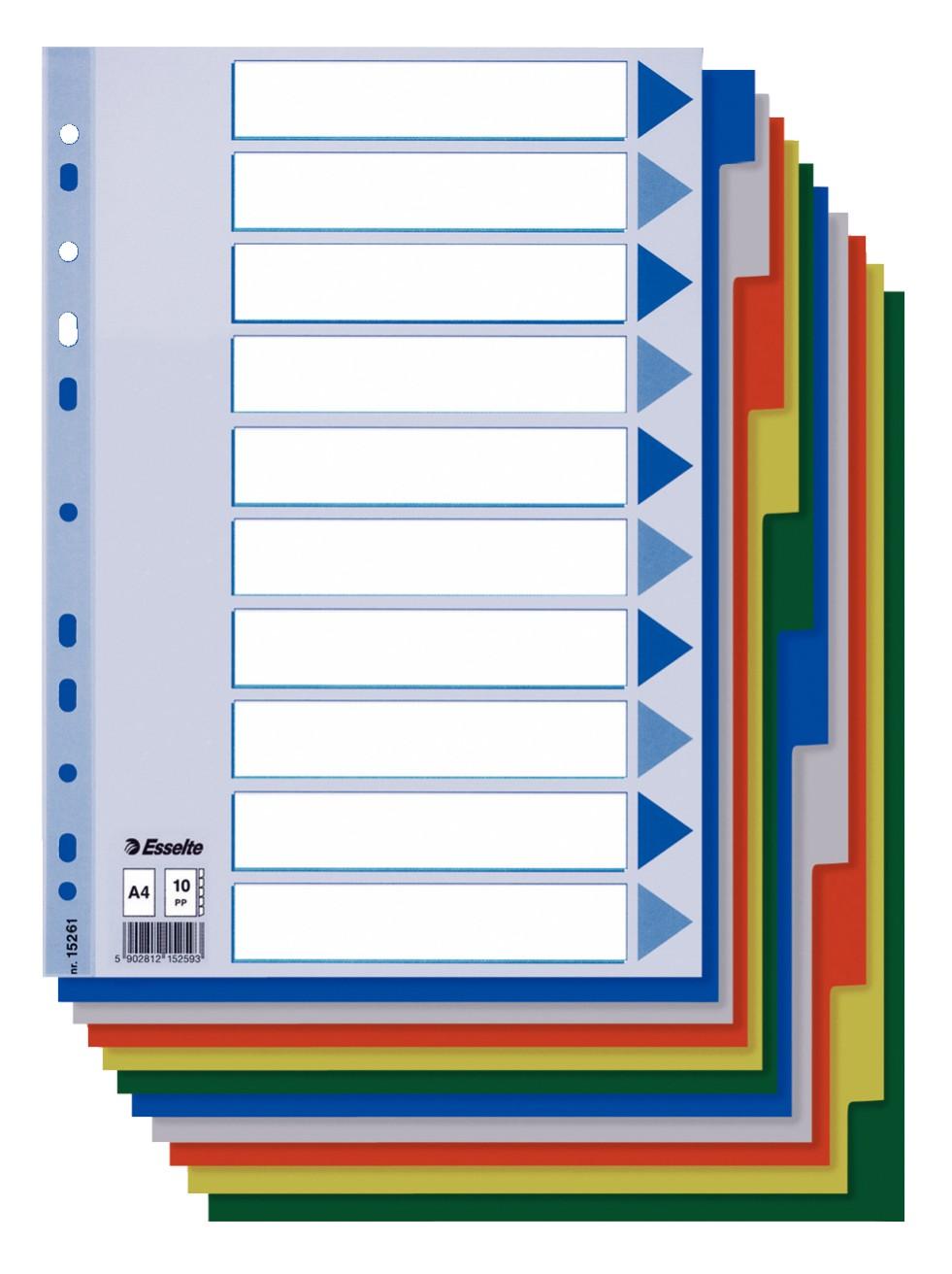 SEPARATOARE INDEX PLASTIC 10 CULORI ESSELTE